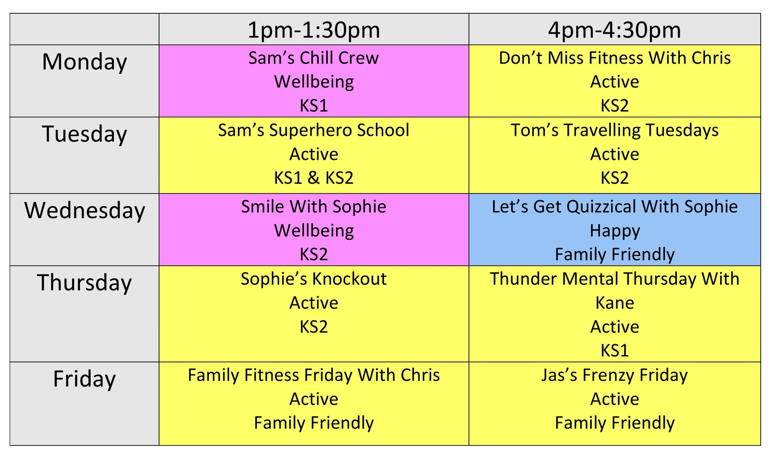 Daily Distraction Timetable